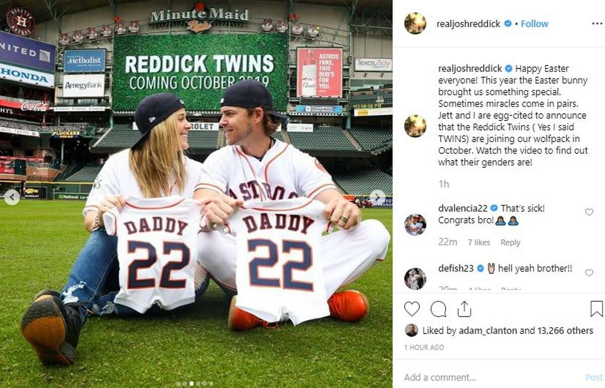 Josh Reddick and his wife are expecting twins.