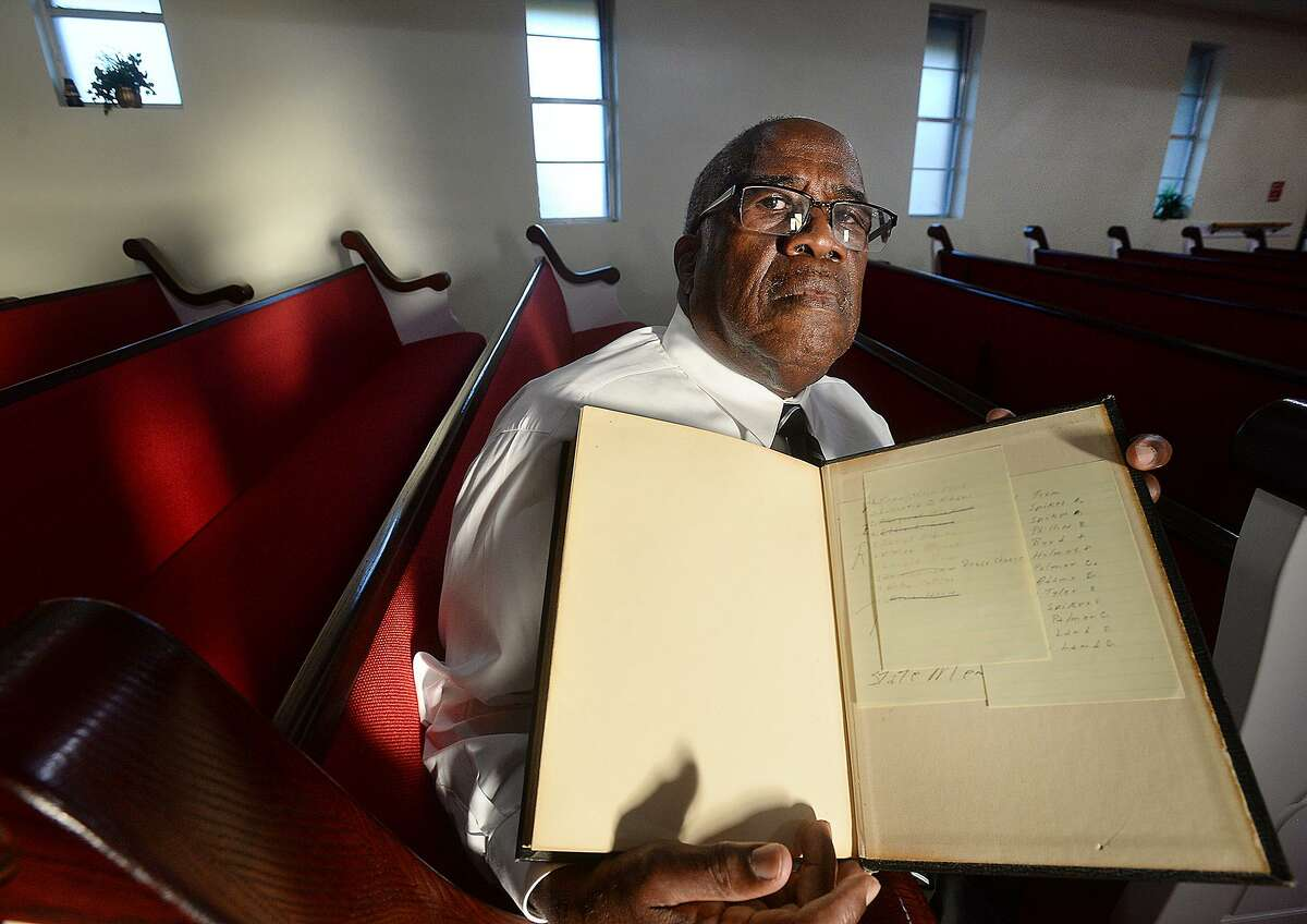 Rev. Kenneth Lyons sits with the Bible he uses for preaching at Greater New Bethel Baptist Church in Jasper, the church which the Byrd family attended. June 7, 1998, James Byrd, Jr., was murdered after being dragged for miles chained to the back of a pickup truck on Huff Creek Road. John William King, Lawrence Breewer and Shawn Berry were all convicted of Byrd's murder. Brewer was executed in 2011, Berry is serving a life sentence, and King is set to be executed April 24, 2019 in Huntsville. Rev. Lyons' Bible still contains the list of 10 names he wrote out 20 years ago in the wake of Byrd's death. In reference to the Old Testament story of Sodom and Gomorrah, in which Abraham pleads for God to save the city by providing the names of 10 honorable people, Lyons similarly put his faith in God to help Jasper overcome the aftermath of Byrd's murder. He taped his own list to the back of his Bible, where it remains to this day. No one knows the names on that list, he says.