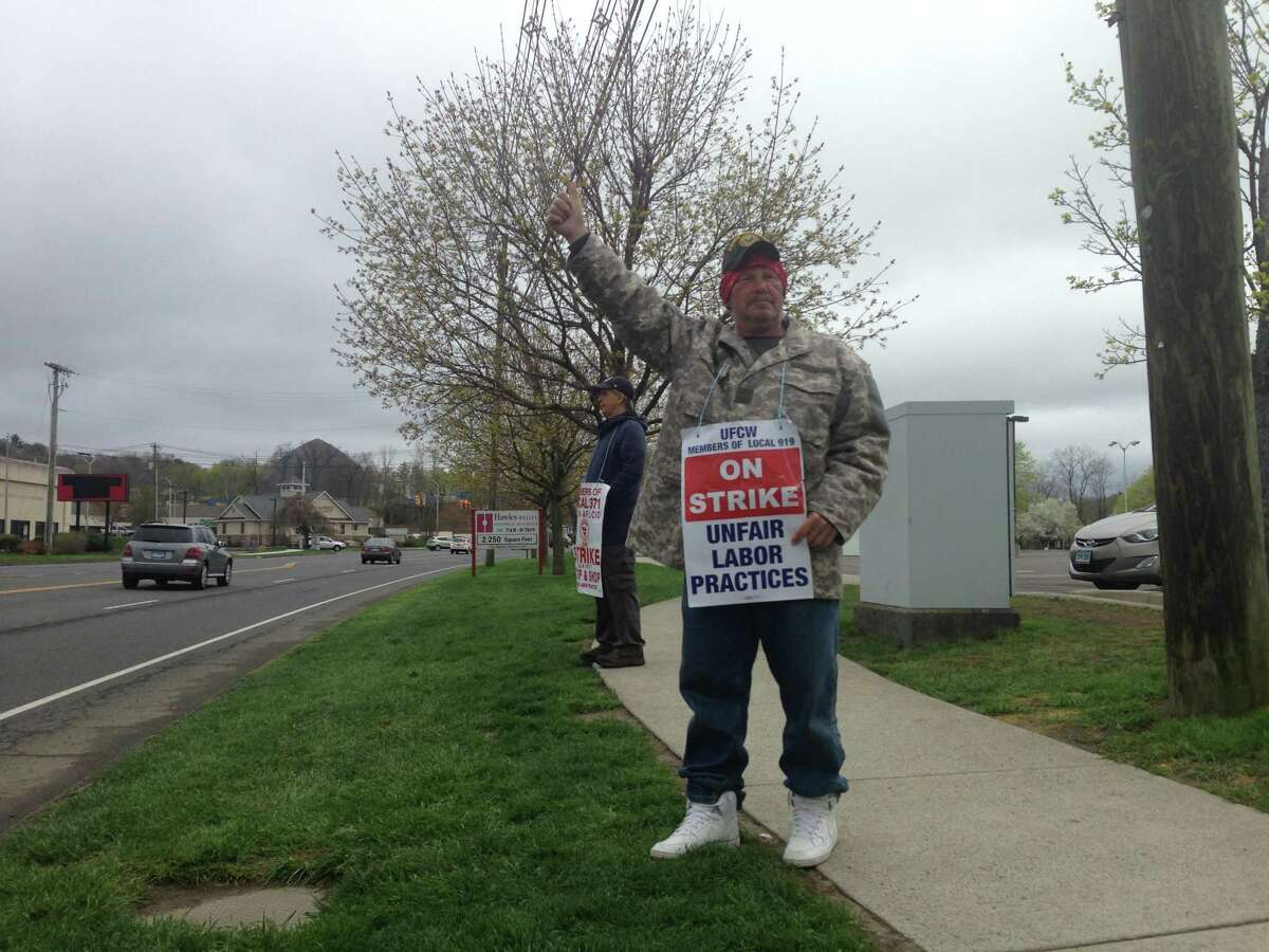 Joe Heller, strike captain for UFCW Local 919 and longtime worker in the dairy department at the Stop & Shop on Newtown Road in Danbury, was among the workers picketing outside the store on Easter Sunday