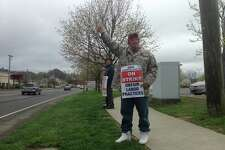 Joe Heller, strike captain for UFCW Local 919 and longtime worker in the dairy department at the Stop & Shop on Newtown Road in Danbury, was among the workers picketing outside the store on Easter Sunday, April 21, 2019. This was the 11th day of the strike, which includes more than 31,000 associates in Connecticut, Massachusetts and Rhode Island.