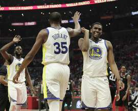 Kevin Durant (35) celebrates a foul call on a shot he made in the first half as the Golden State Warriors played the Los Angeles Clippers in Game 4 of the First Round of the NBA Playoffs at Staples Center in Los Angeles, Calif., on Sunday, April 21, 2019.