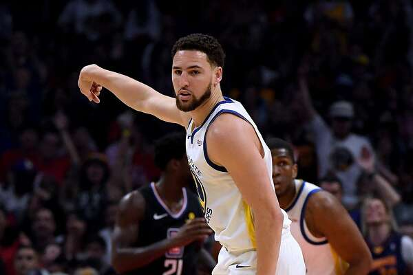 LOS ANGELES, CALIFORNIA - APRIL 21: Klay Thompson #11 of the Golden State Warriors reacts to his three pointer during the first half against the LA Clippers in Game Four of Round One of the 2019 NBA Playoffs at Staples Center on April 21, 2019 in Los Angeles, California. (Photo by Harry How/Getty Images) NOTE TO USER: User expressly acknowledges and agrees that, by downloading and or using this photograph, User is consenting to the terms and conditions of the Getty Images License Agreement.