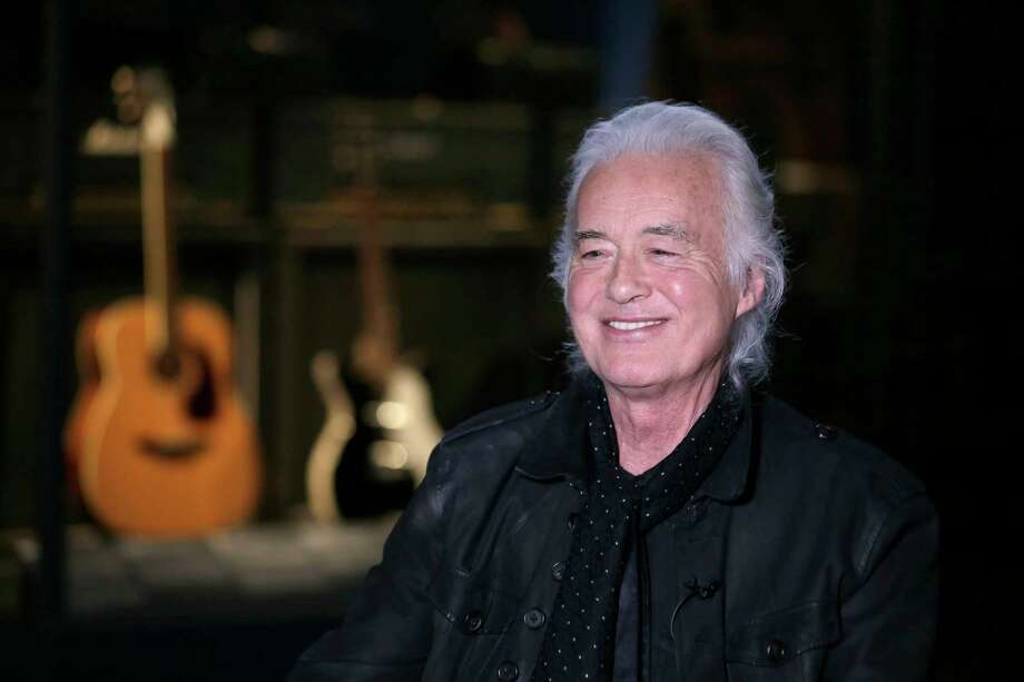 Jimmy Page speaks to a reporter at the Metropolitan Museum of Art in New York, Monday, April 1, 2019. Some of the instruments that Page used to create his Led Zeppelin sound are on display an exhibition called ?Play It Loud: Instruments of Rock & Roll? at the Metropolitan Museum of Art in New York. (AP Photo/Seth Wenig) Photo: Seth Wenig / Copyright 2019 The Associated Press. All rights reserved.