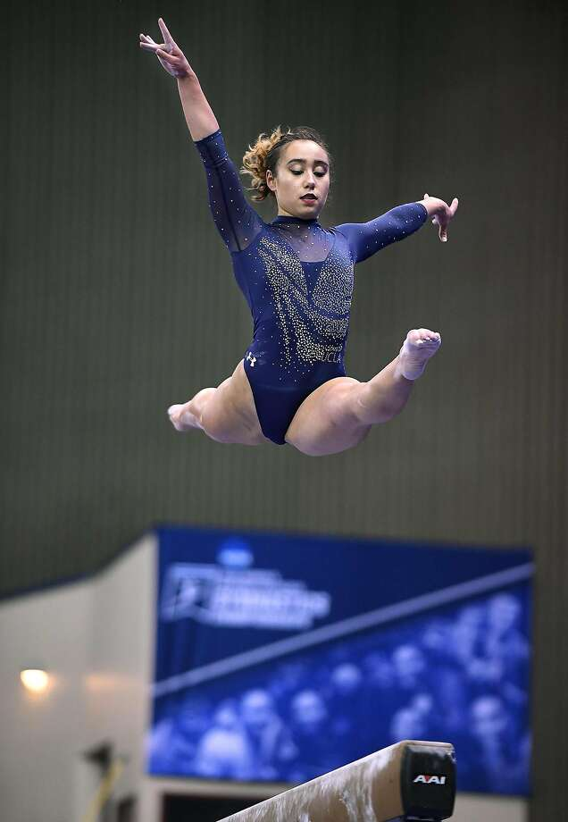 UCLA's Katelyn Ohashi competes on the beam in the NCAA Gymnastics Championship at the Fort Worth Connvention Center on Saturday, April 20, 2019, in Fort Worth, Texas. (Wally Skalij/Los Angeles Times/TNS) Photo: Wally Skalij, TNS