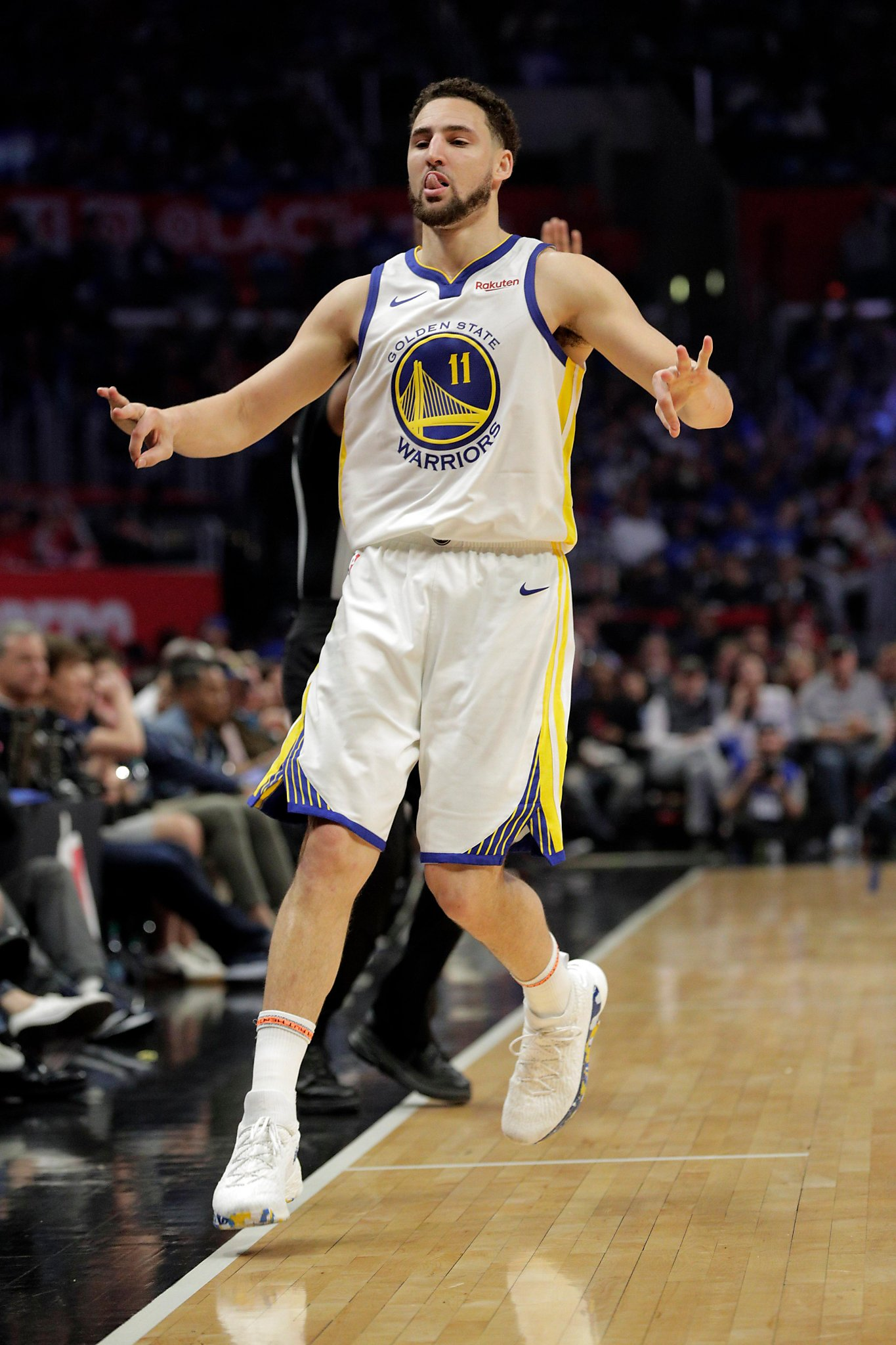 529a34037cb Klay Thompson s postgame interview hysterics continue after Warriors  Game  4. This time it involved Golden State s ...