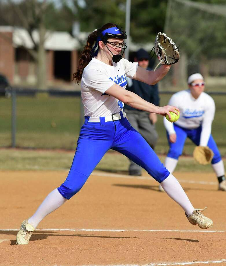 Ichabod Crane pitcher Bella Milazzo throws the ball during a softball game against Holy Names on Thursday, April 4, 2019 in Valatie, N.Y. (Lori Van Buren/Times Union) Photo: Lori Van Buren / 40046590A