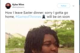 How I leave Easter dinner: sorry I gotta go home, #GameofThrones will be on soon Twitter account: @iamkyleewinn