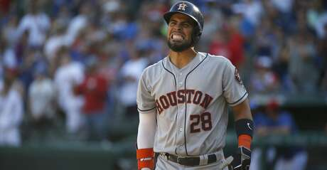 ARLINGTON, TX - APRIL 21: Robinson Chirinos #28 of the Houston Astros reacts after a strike against the Texas Rangers during the ninth inning at Globe Life Park in Arlington on April 21, 2019 in Arlington, Texas. The Rangers won 11-10. (Photo by Ron Jenkins/Getty Images)