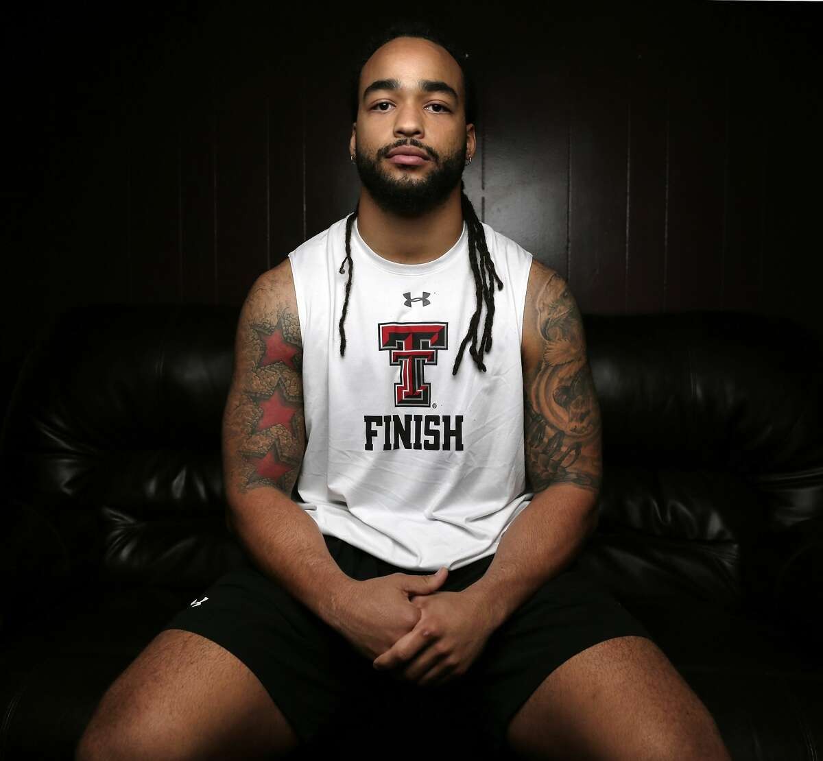 Dakota Allen, NFL prospect, at his home Friday, Apr. 5, 2019 in Humble, TX. Allen played for Summer Creek and Texas Tech, but had a brush with the law. He's gotten a second chance and is now on the straight and narrow.