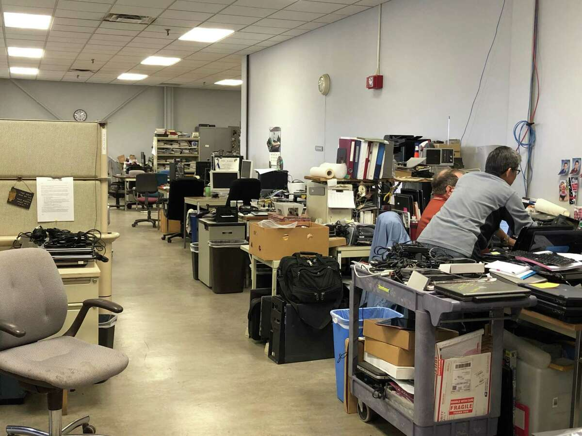 Members of the nonprofit GE Elfun Computer Rehab of Schenectady Inc. refurbished more than 800 computers in 2018. (Jennifer Patterson / Times Union)