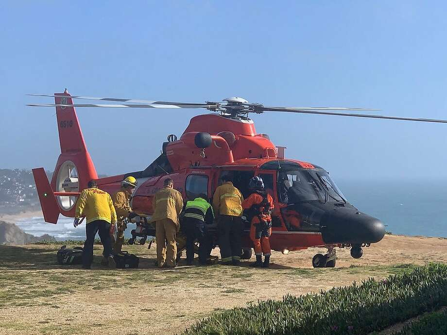 Firefighters work an incident on the Pacifica coast Sunday, April 22, 2019, in which a hang glider died. Photo: California Department Of Forestry And Fire Protection
