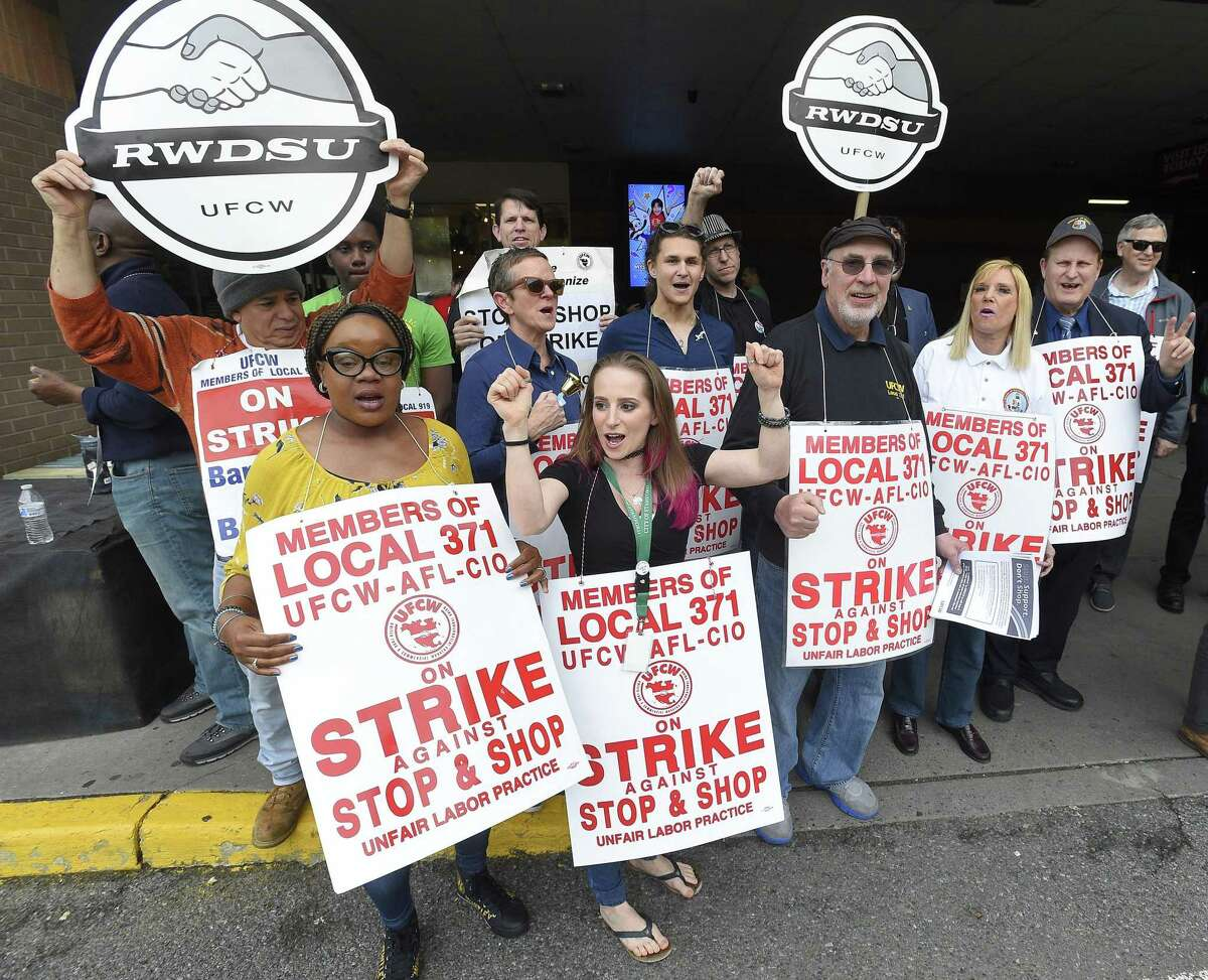 Stop & Shop employees are on strike after having been without a contract since February, and are resisting the company's attempts to cut pay, benefits, vacation and personal time. Board of Representative Nina Sherwood, center, and other Stamford representatives join with striking employees on the line Thursday, April 19, 2019 at one of the Stamford, Conn. stores asking customers to honor the strike and not enter the store. The purpose of the rally is to stand in solidarity with Local 371 and Local 919 in their demands for a fair contract, Sherwood said.