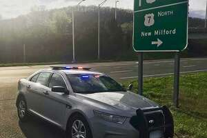A Connecticut State Police vehicle in April 2019.