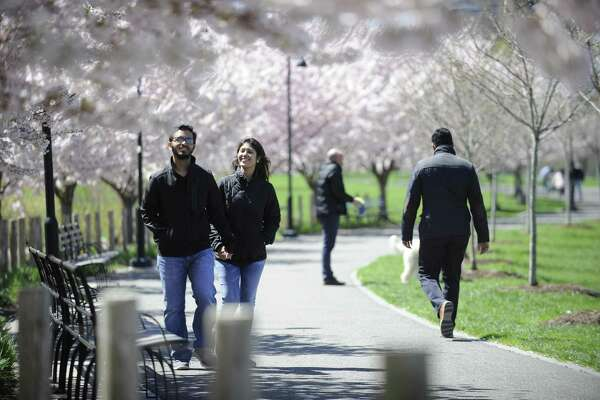 Rajutsha Nath of Norwalk and his wife Sraboni Chowdhury enjoy a spring walk together among blooming cherry blossoms at Mill River Park on Tuesday, April 16, 2019 in Stamford, Connecticut.
