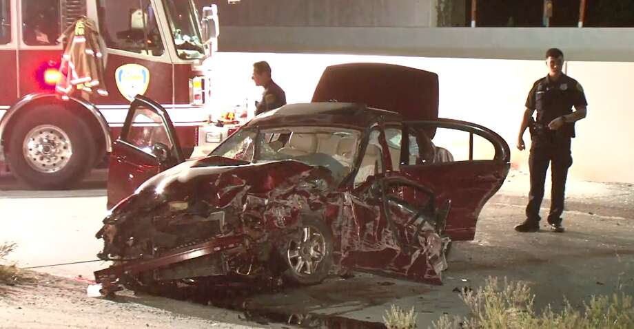 Police investigate a crash were a driver struck a concrete wall near Berry and the Hardy Toll Road in Houston on Sunday, April 21, 2019. Photo: Metro Video