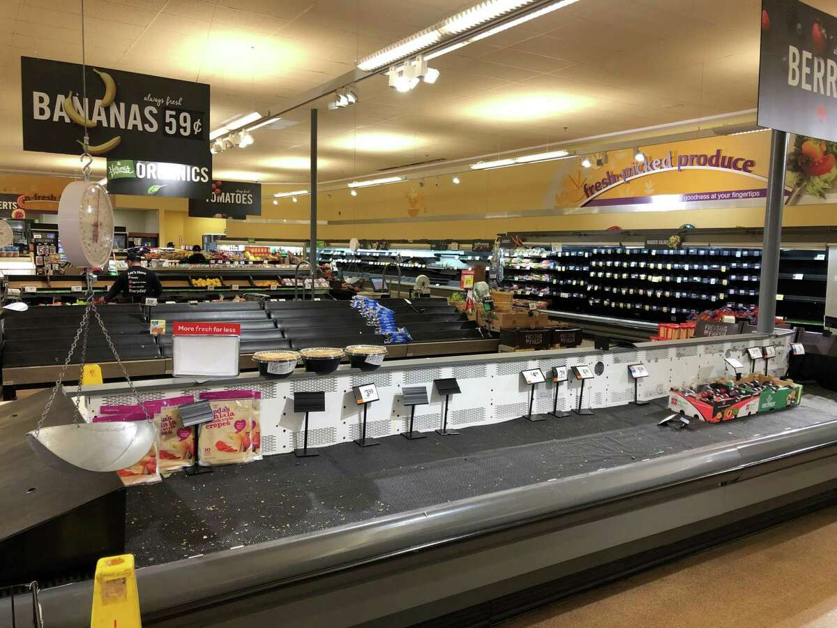 The Stop & Shop produce section on Whalley Avenue in New Haven needs some restocking after an 11-day strike. Workers and customers returned to Stop & Shop stores on Monday, April 22, 2019.
