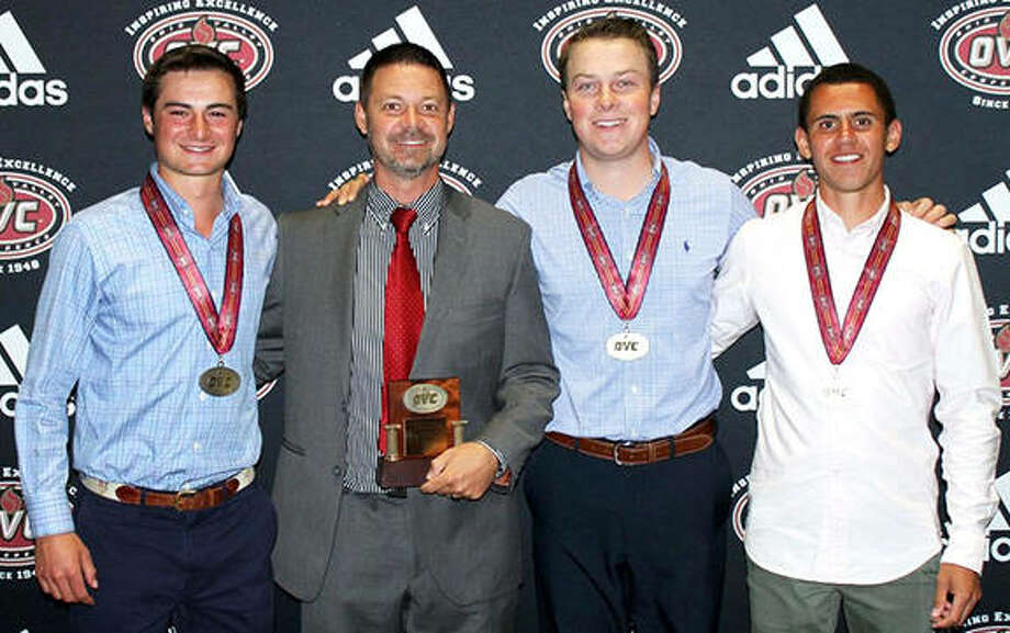 SIUE's (from left) Brooks Jungbluth, coach Derrick Brown, Kyle Slattery and Conor Dore were honored for their season over the weekend at the OVC Tournament in Muscle Shoals, Ala. Photo: SIUE Athletics