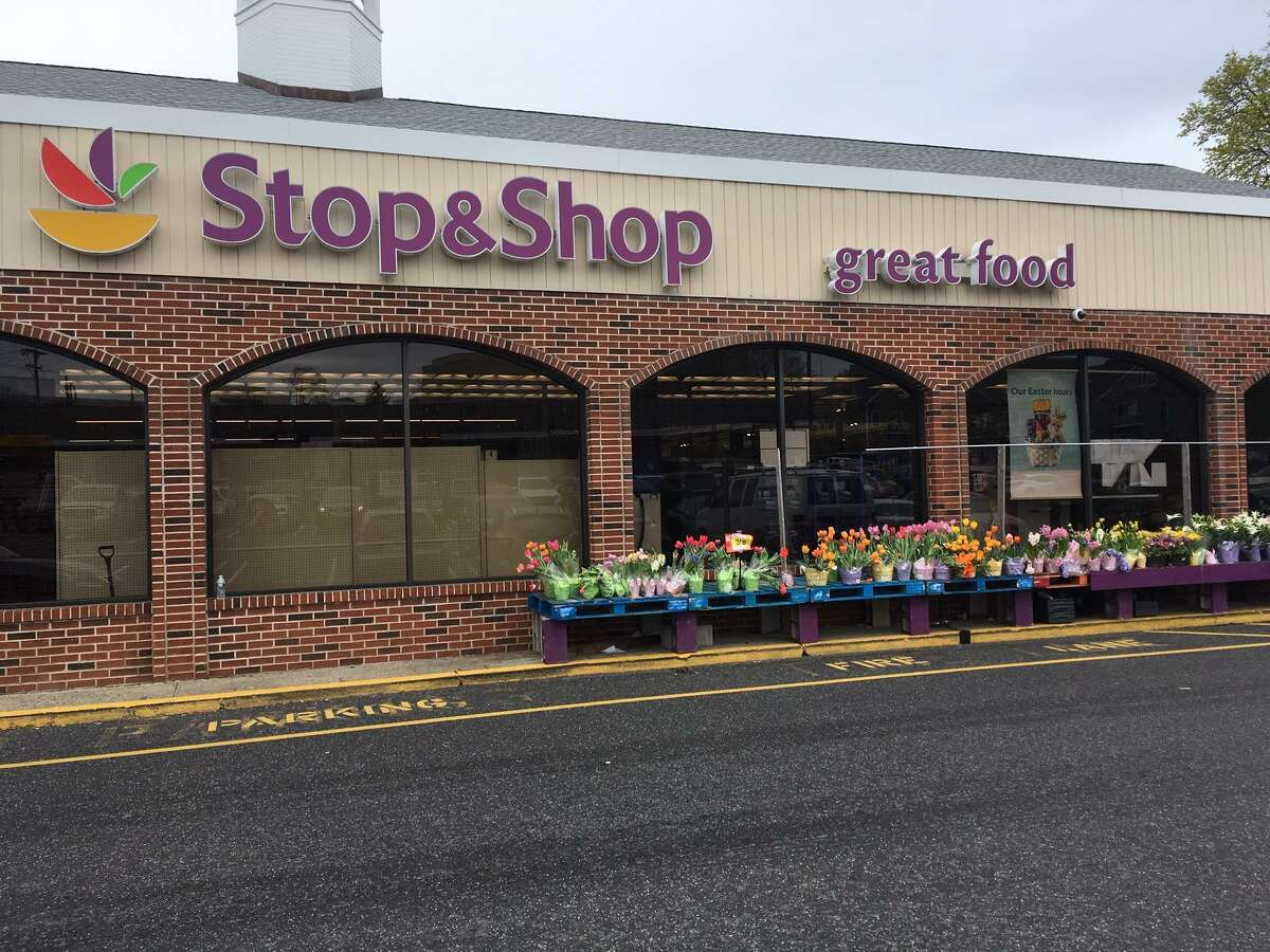 Spring flowers line the front of Stop & Shop in Greenwich on Monday, April 22, 2019. Monday was the first day workers returned to the store after a tenative contract was reached on Sunday, April 21, 2019.