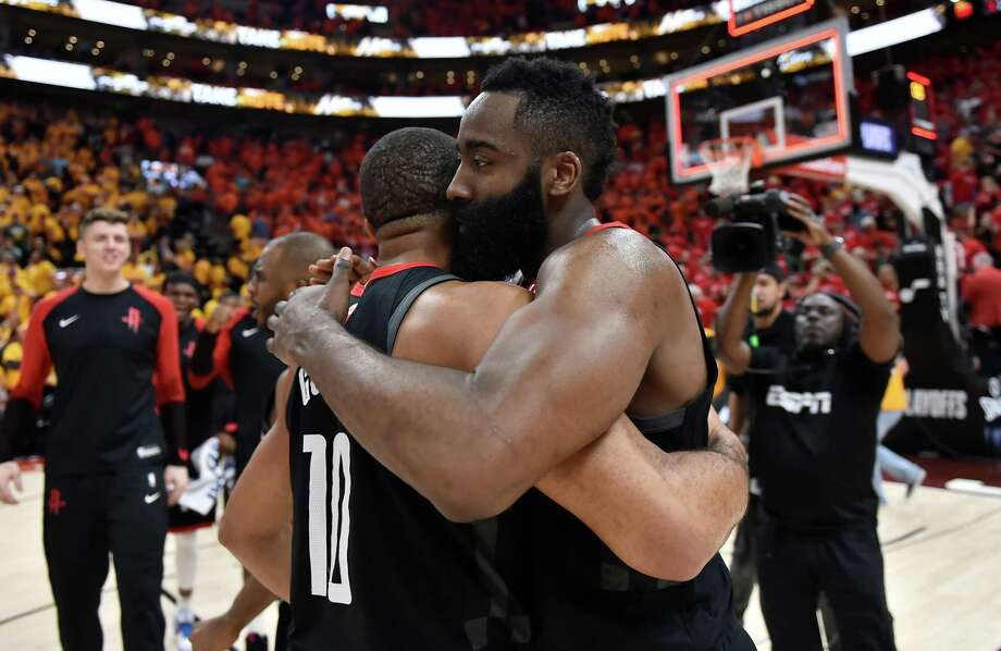 SALT LAKE CITY, UT - APRIL 20: Eric Gordon #10 and James Harden #13 of the Houston Rockets embrace after their 104-101 win over the Utah Jazz in Game Three during the first round of the 2019 NBA Western Conference Playoffs at Vivint Smart Home Arena on April 20, 2019 in Salt Lake City, Utah. NOTE TO USER: User expressly acknowledges and agrees that, by downloading and or using this photograph, User is consenting to the terms and conditions of the Getty Images License Agreement. (Photo by Gene Sweeney Jr./Getty Images) Photo: Gene Sweeney Jr., Stringer / Getty Images / 2019 Getty Images