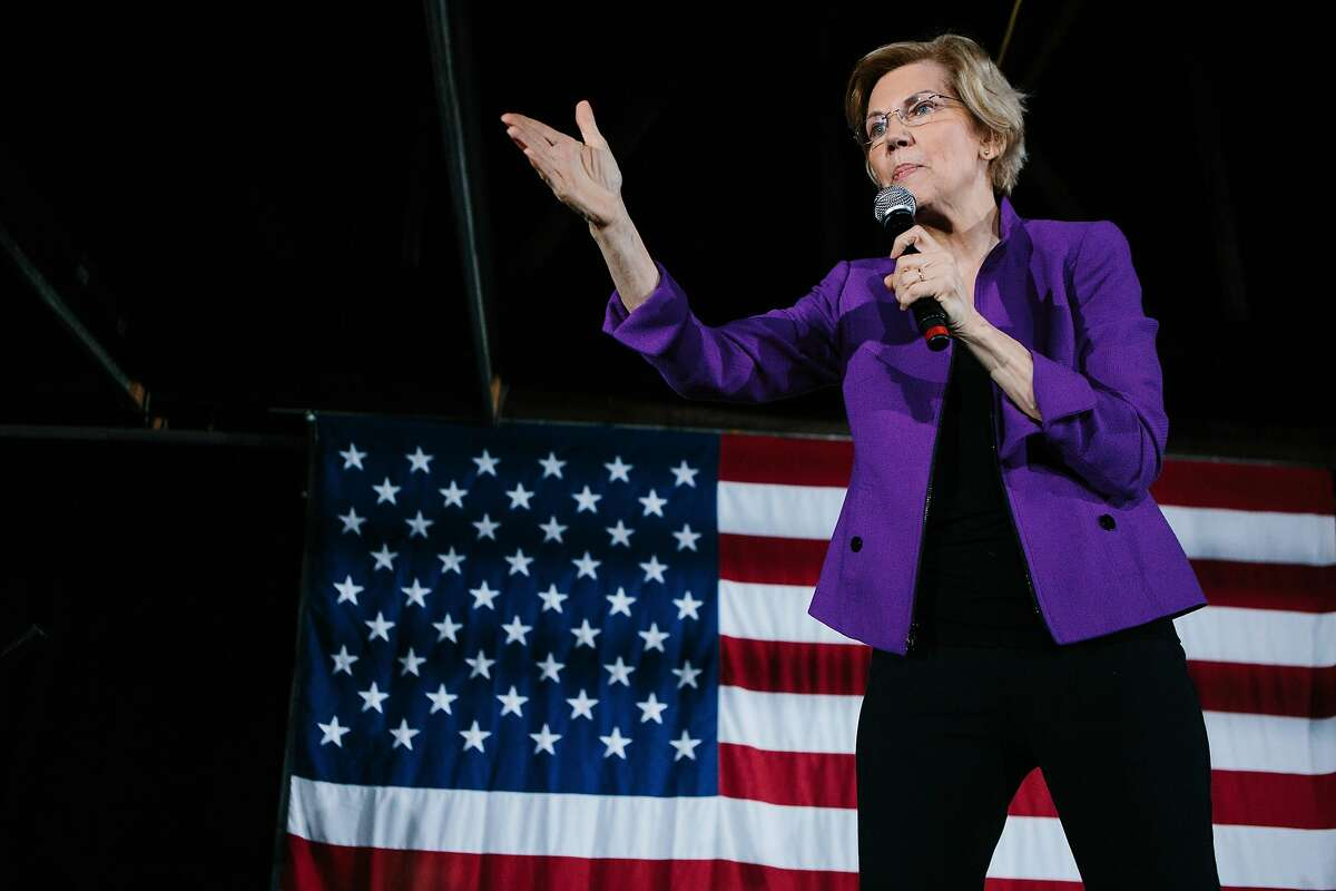 FILE-- Sen. Elizabeth Warren (D-Mass.), a Democratic presidential hopeful, holds a rally in the New York neighborhood of Long Island City, March 8, 2019. Warren, who has structured her presidential campaign around a steady unveiling of disruptive policy ideas, on April 22 proposed her biggest one yet: a $1.25 trillion plan to reshape higher education by canceling most student loan debt and eliminating tuition at every public college. (Gabriela Bhaskar/The New York Times)