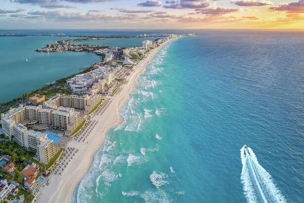 Mexico's mega-resort of Cancun is on the Caribbean coast of the Yucatan Peninsula.