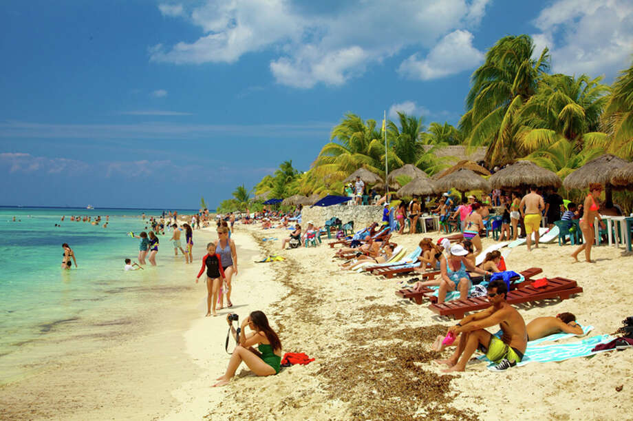 The Caribbean resort island of Cozumel is just south of Cancun. >>See other non-stop flights from Houston. Photo: Expedia