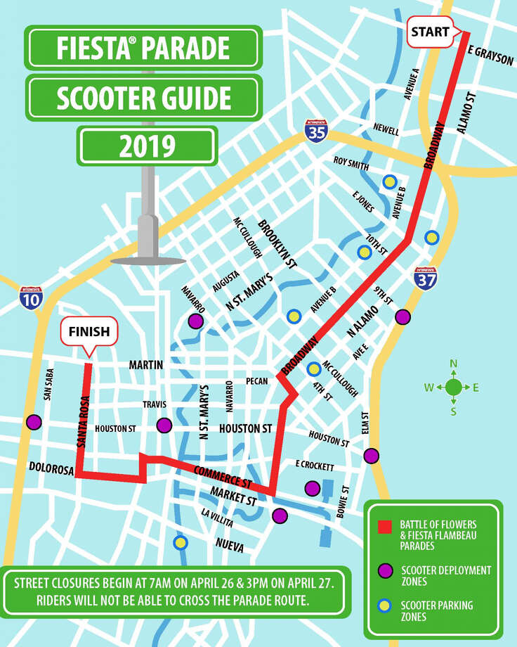 The city announced on Monday that the dockless vehicles will not have access to the areas within the routes for the Fiesta Battle of Flowers and Fiesta Flambeau parades nor the street closures surrounding them. Riders will not be able to cross the parade routes on Broadway, Commerce Street  and Santa Rosa, according to the release. Photo: Courtesy, City Of San Antonio