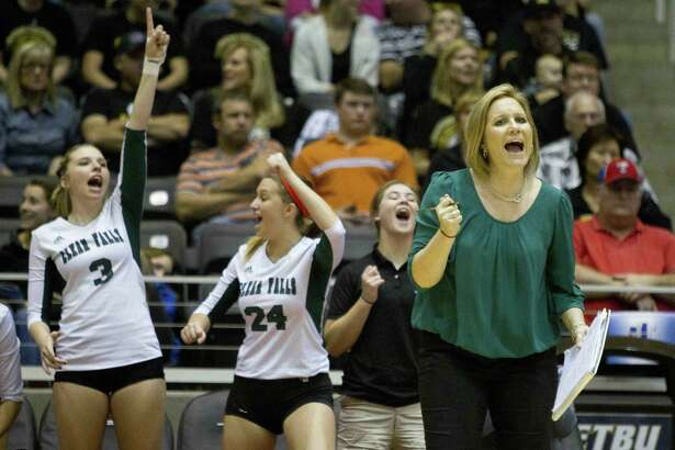 Clear Falls' head coach Lyndsay Hodges encourages her team during a Class 6A state semifinal game against Amarillo during the UIL State Volleyball Championships in 2014.