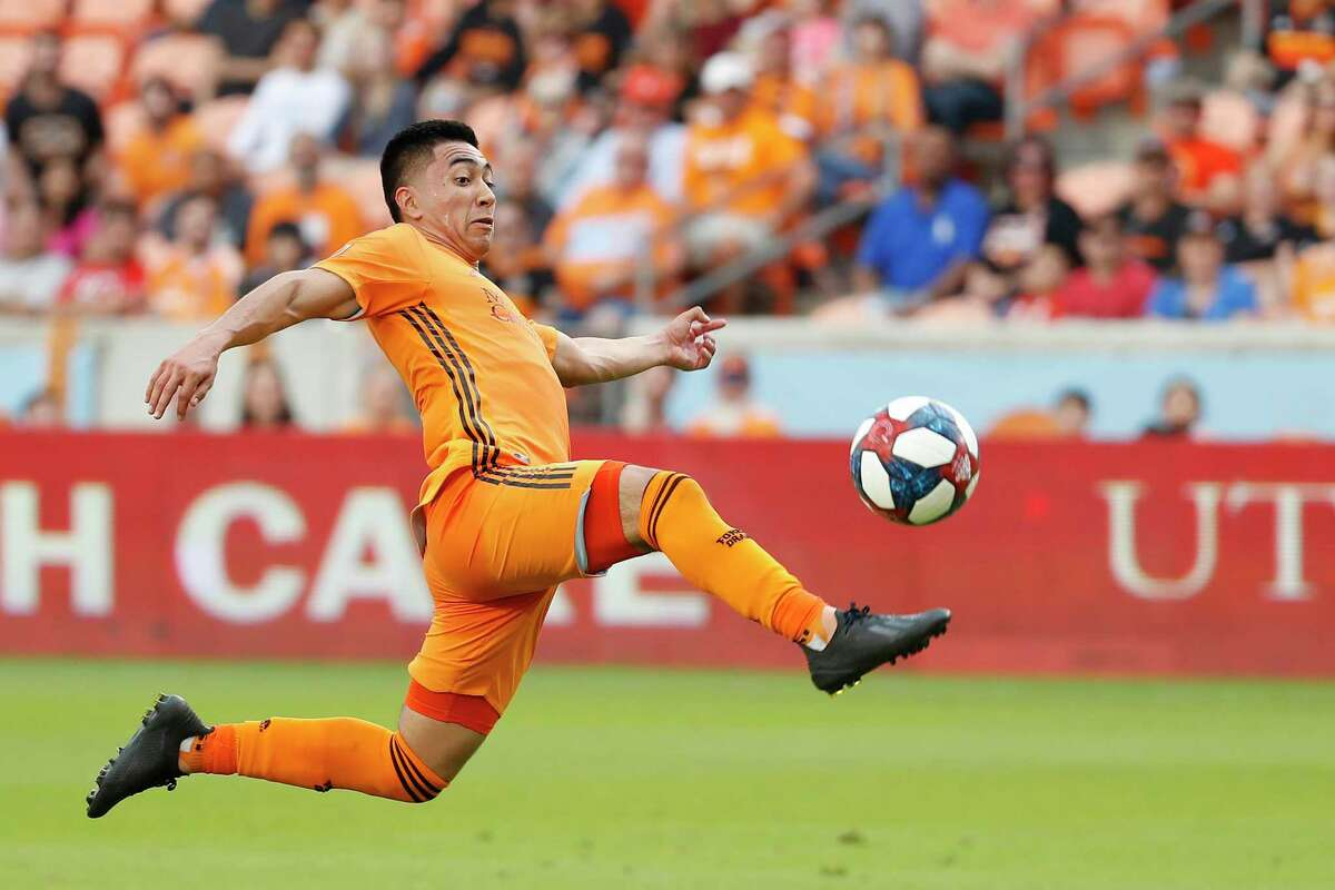 Memo Rodriguez, shown in a game from earlier this season, had the Dynamo's only goal in a 5-1 loss to FC Dallas on Sunday.