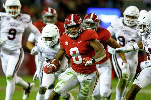 Alabama running back Josh Jacobs (8) carries the ball during the second half of an NCAA college football game against Mississippi State, Saturday, Nov. 10, 2018, in Tuscaloosa, Ala. (AP Photo/Butch Dill)