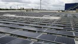 Solar panels cover almost 80 percent of the roof of the Ikea store near Interstate 35 and Loop 1604. The system started generating power April 19, 2019.
