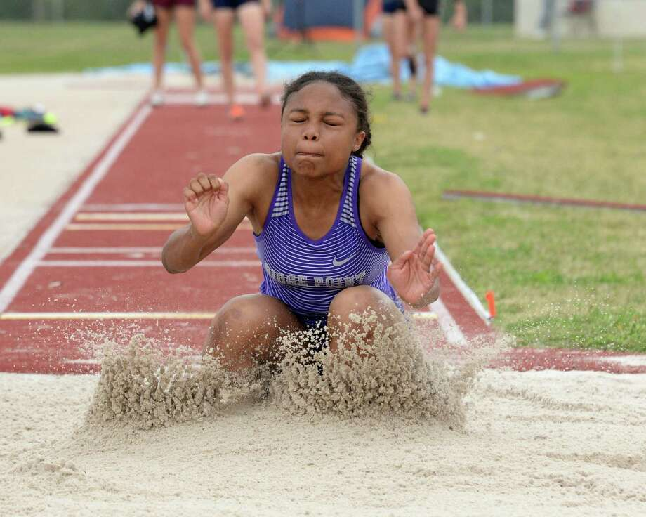 Anaiya Midget of Ridge Point competes in the long jump competition during the District 19/20, Region III-6A Area Track & Field Meet on Thursday, April 18, at the Paetow High School in Katy. Photo: Craig Moseley, Houston Chronicle / Staff Photographer / ©2019 Houston Chronicle