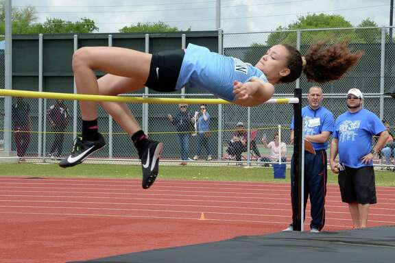 Ryla Kennedy of Paetow competes in the high jump competition during the District 19/20, Region III-5A Area Track & Field Meet on Thursday, April 18, at the Paetow High School..