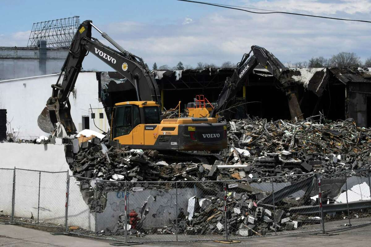 Warehouses at the former Beech Nut baby food factory are demolished on Monday, April 22, 2019, in Canajoharie, N.Y. (Will Waldron/Times Union)
