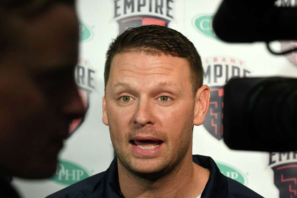 Rob Keefe, head coach of the Albany Empire, is interviewed during a media day event on Monday, April 22, 2019, at the Hearst Media Center in Colonie, N.Y. (Will Waldron/Times Union)