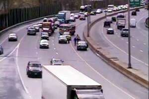 Emergency personnel respond to a broken down SUV on I-84 eastbound April 22, 2019.