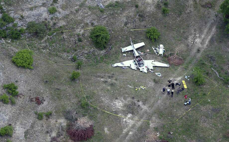 The wreckage of a twin-engine Beechcraft BE58 is seen April 22, 2019 in an aerial image. All six people on the plane were killed in the crash that occurred about 6 mile northwest of the Kerrville Municipal Airport about 9 a.m. Monday. Photo: William Luther, Staff Photographer / ©2019 San Antonio Express-News