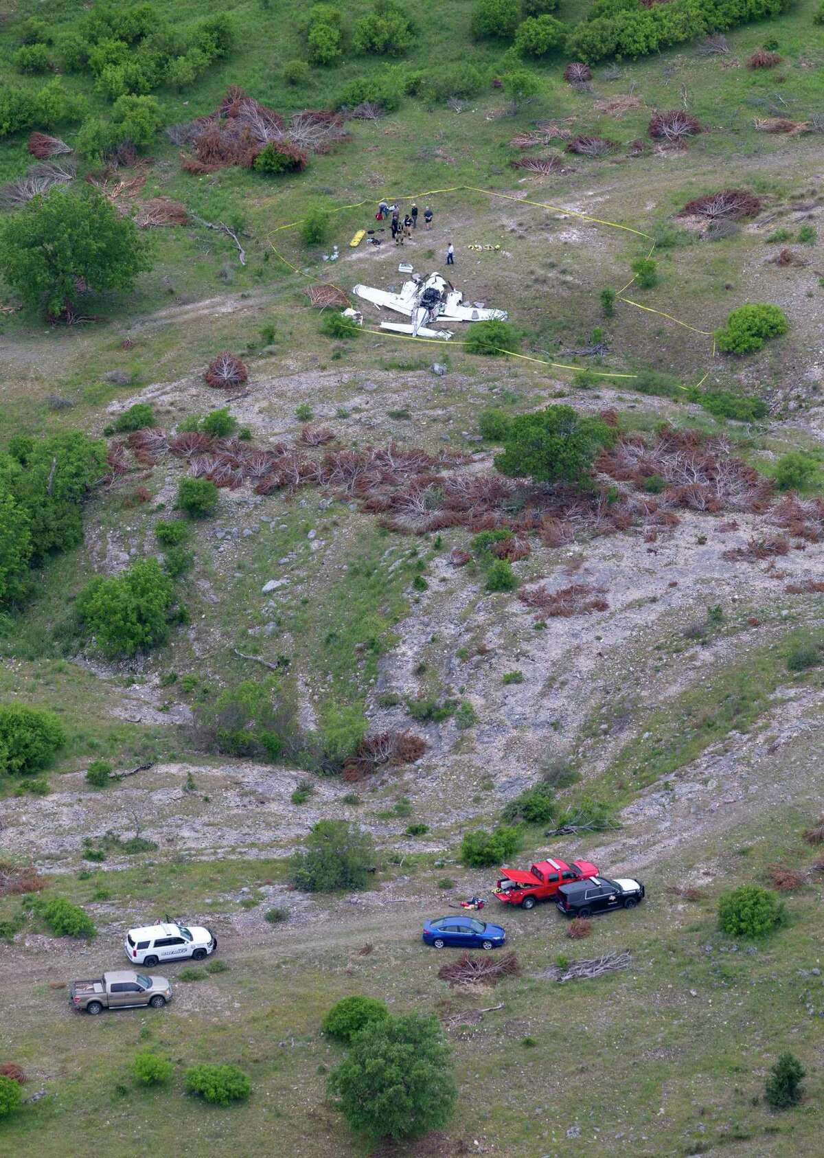 The wreckage of a twin-engine Beechcraft BE58 is seen April 22, 2019 in an aerial image. All six people on the plane were killed in the crash that occurred about 6 mile northwest of the Kerrville Municipal Airport about 9 a.m. Monday.