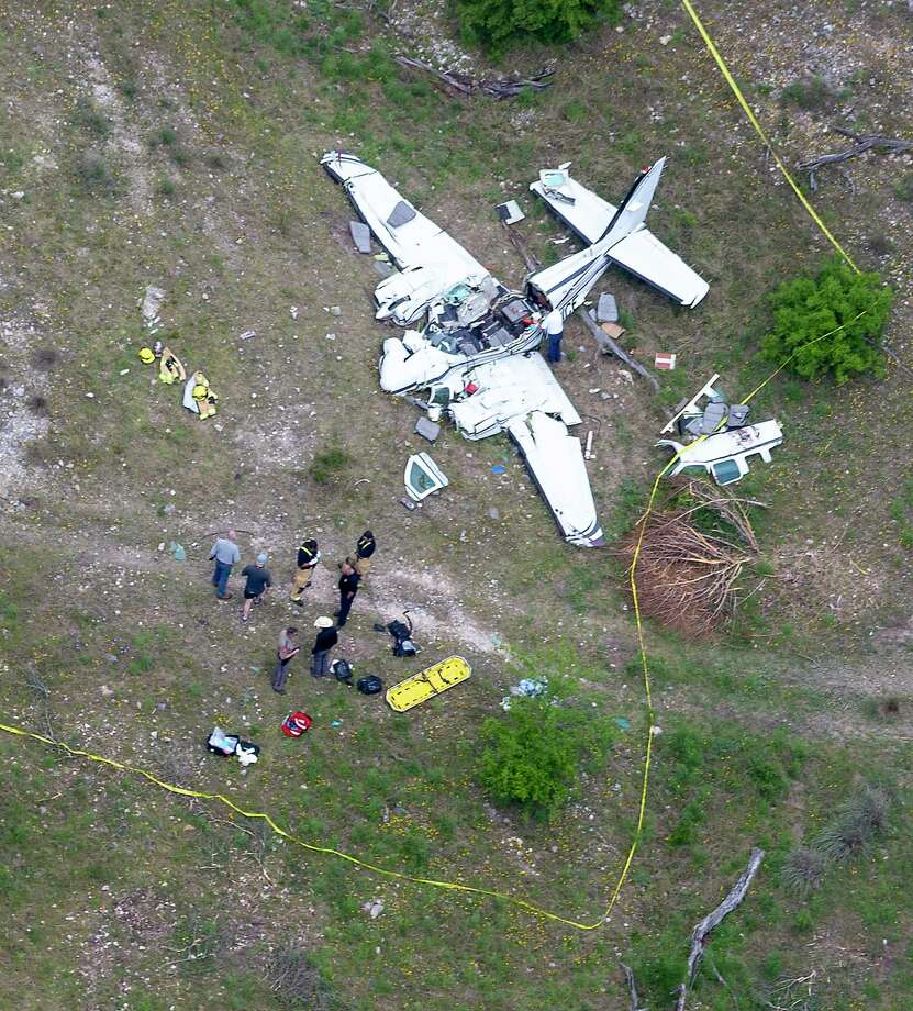 The wreckage of a twin-engine Beechcraft BE58 is seen Monday, April 22, 2019 in an aerial image. All six people on the plane were killed in the crash that occurred about 6 mile northwest of the Kerrville Municipal Airport about 9:00 a.m. Monday. Photo: William Luther, Staff Photographer / ©2019 San Antonio Express-News