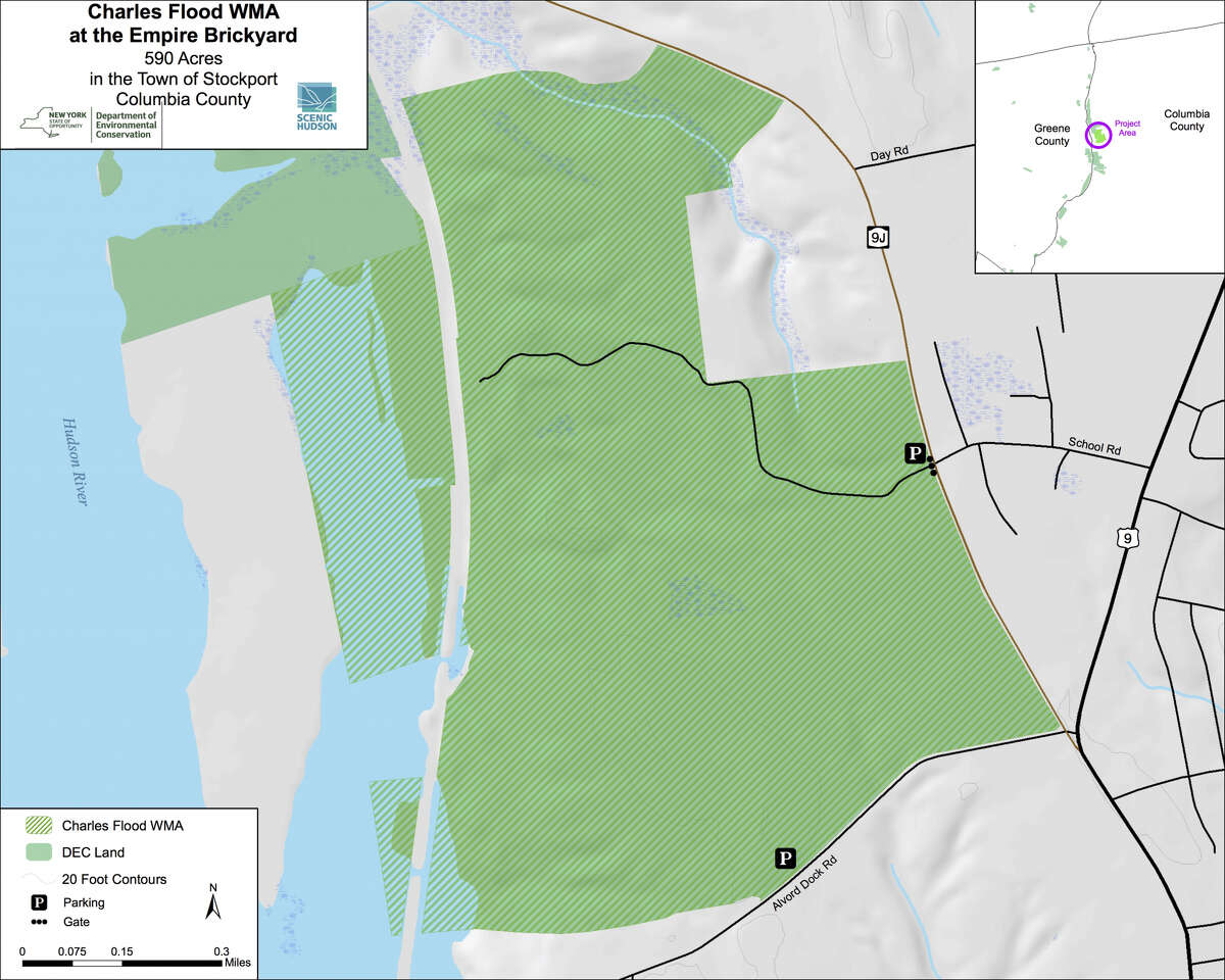 The state announced acquisition of a 590-acre wildlife management area, which allows for public hiking, hunting, fishing, and cross-country skiing. The Charles Flood Wildlife Management Area at the Empire Brickyard is on the Hudson in Stockport, New York.