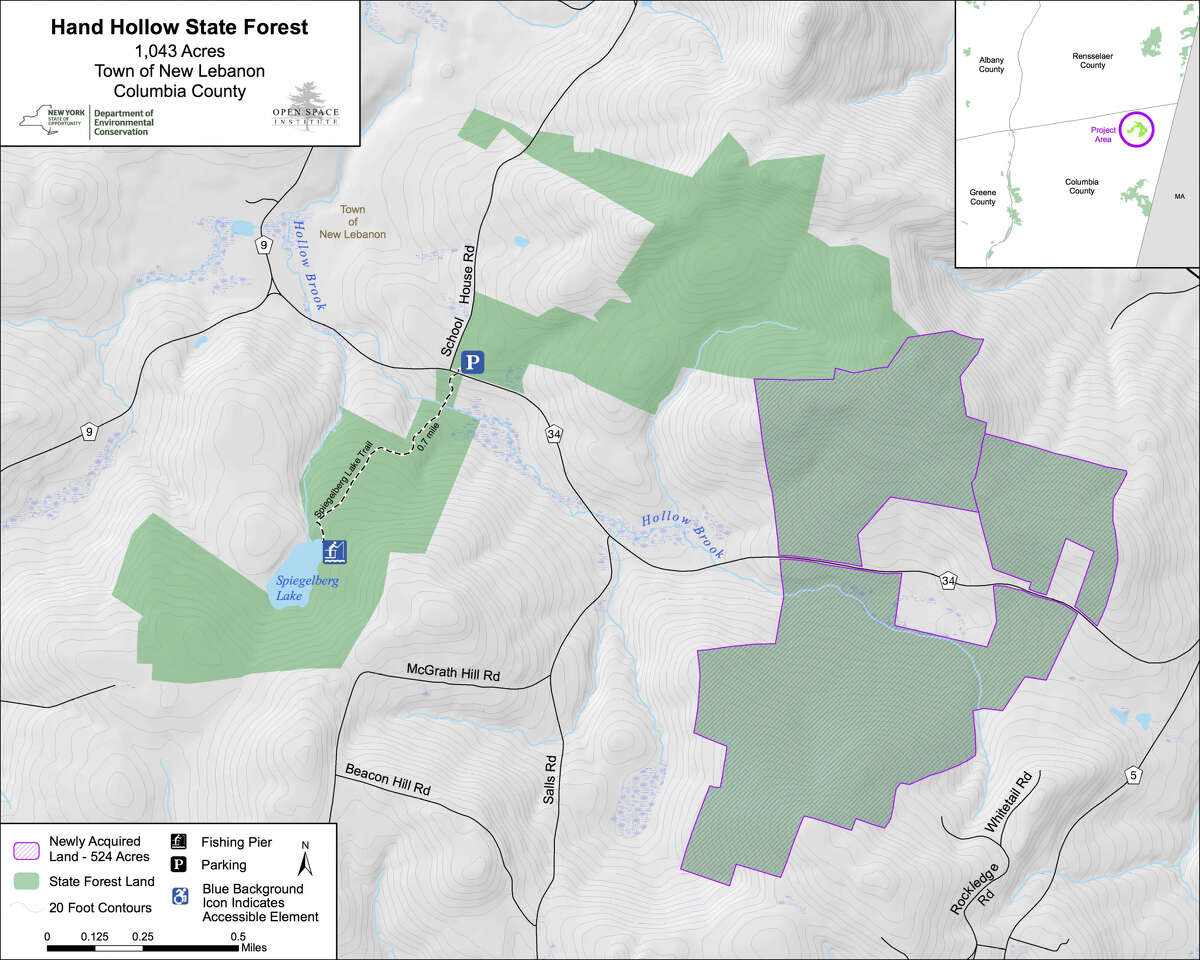 New York State announced it is adding 524 acres to the existing Hand Hollow State Forest in New Lebanon near the Massachusetts border through a $2.1 million purchase from the conservation group Open Space Institute.