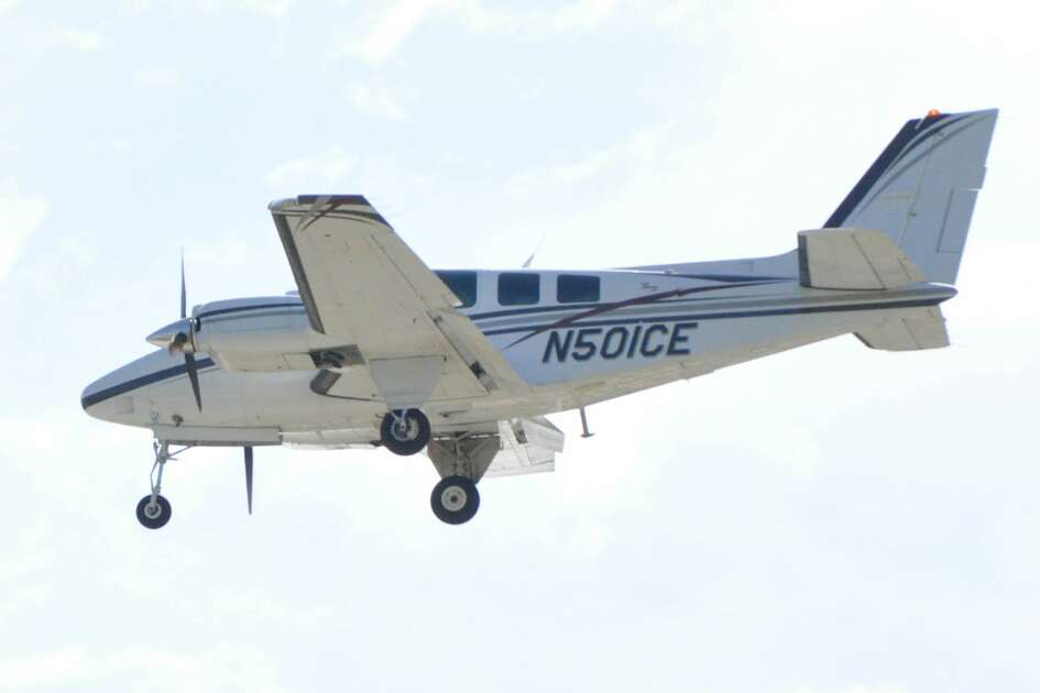 The twin-engine Beechcraft BE58 that crashed near Kerrville, Texas, on April 22, 2019, killing all six on board, is seen flying in this undated photo.