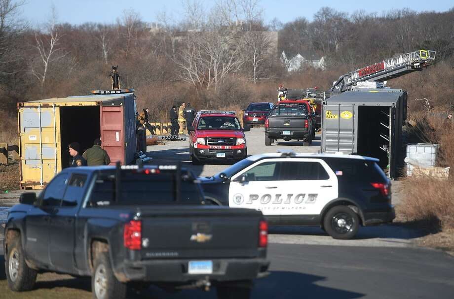 Milford firefighters and police are on scene for a storage container fire at Silver Sands State Park in Milford, Conn. on Sunday, March 24, 2019. Photo: Brian A. Pounds / Hearst Connecticut Media / Connecticut Post