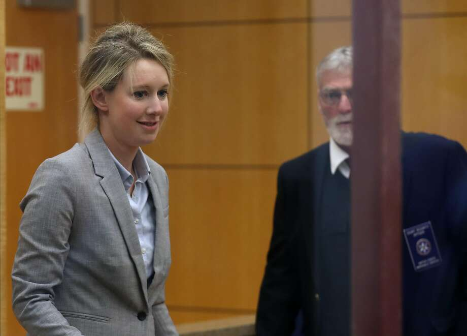 Former Theranos founder and CEO Elizabeth Holmes arrives at the Robert F. Peckham U.S. Federal Court on April 22, 2019 in San Jose, California. Former Theranos CEO Elizabeth Holmes and former COO Ramesh Balwani appeared in federal court for a status hearing. Both are facing charges of conspiracy and wire fraud for allegedly engaging in a multimillion-dollar scheme to defraud investors with the Theranos blood testing lab services. (Photo by Justin Sullivan/Getty Images) Photo: Justin Sullivan, Getty Images