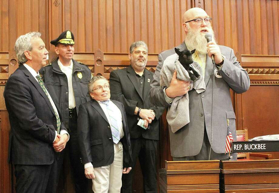 Rep. Rich Smith, New Milford Chief of Police Spencer Cerruto, Judge Martin Landgrebe, Mayor Pete Bass, State Rep. Bill Buckbee in the House of Representatives at the State Capitol. Photo: Contributed Photo /