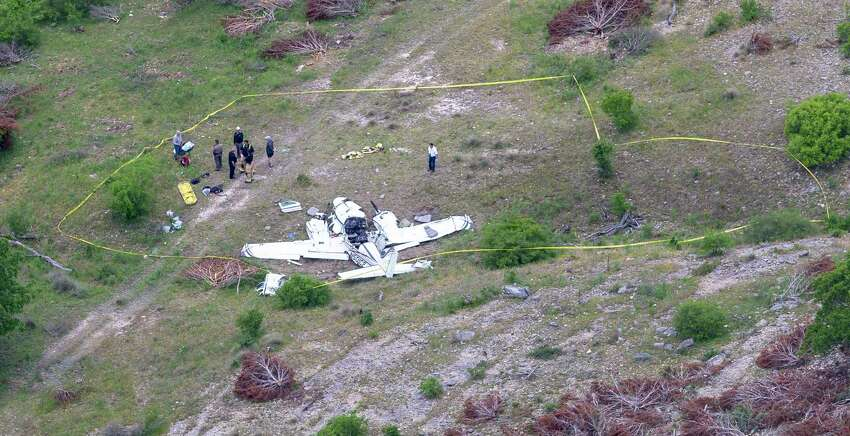The wreckage of a twin-engine Beechcraft BE58 is seen Monday, April 22, 2019 in an aerial image. All six people on the plane were killed in the crash that occurred about 6 mile northwest of the Kerrville Municipal Airport about 9:00 a.m. Monday.