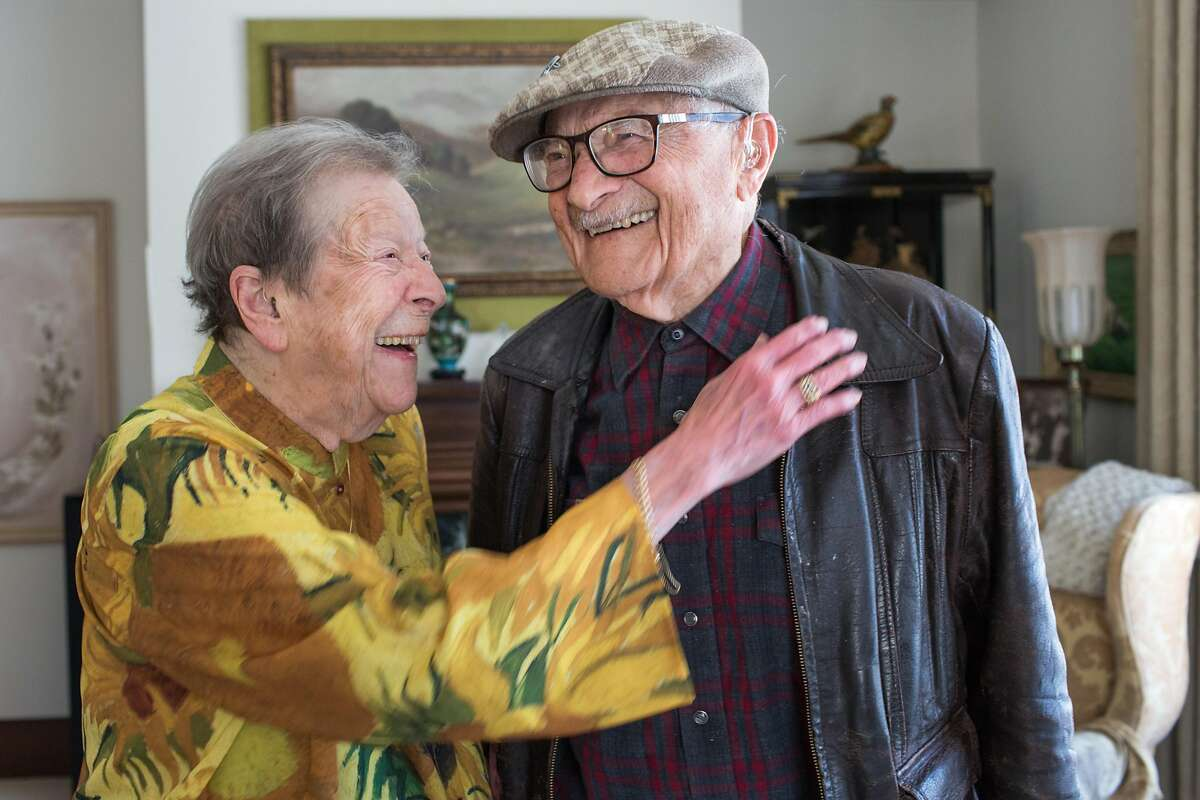 Angela Capobianco poses for a portrait with Frank Brucia. Angela Capobianco, 99-year-old alumni of Galileo High will be inducted into its Hall of Fame on April 26. Presenting her with the honor will be 102-year-old alumni Frank Brucia. Wednesday, April 17, 2019. San Francisco, Calif.