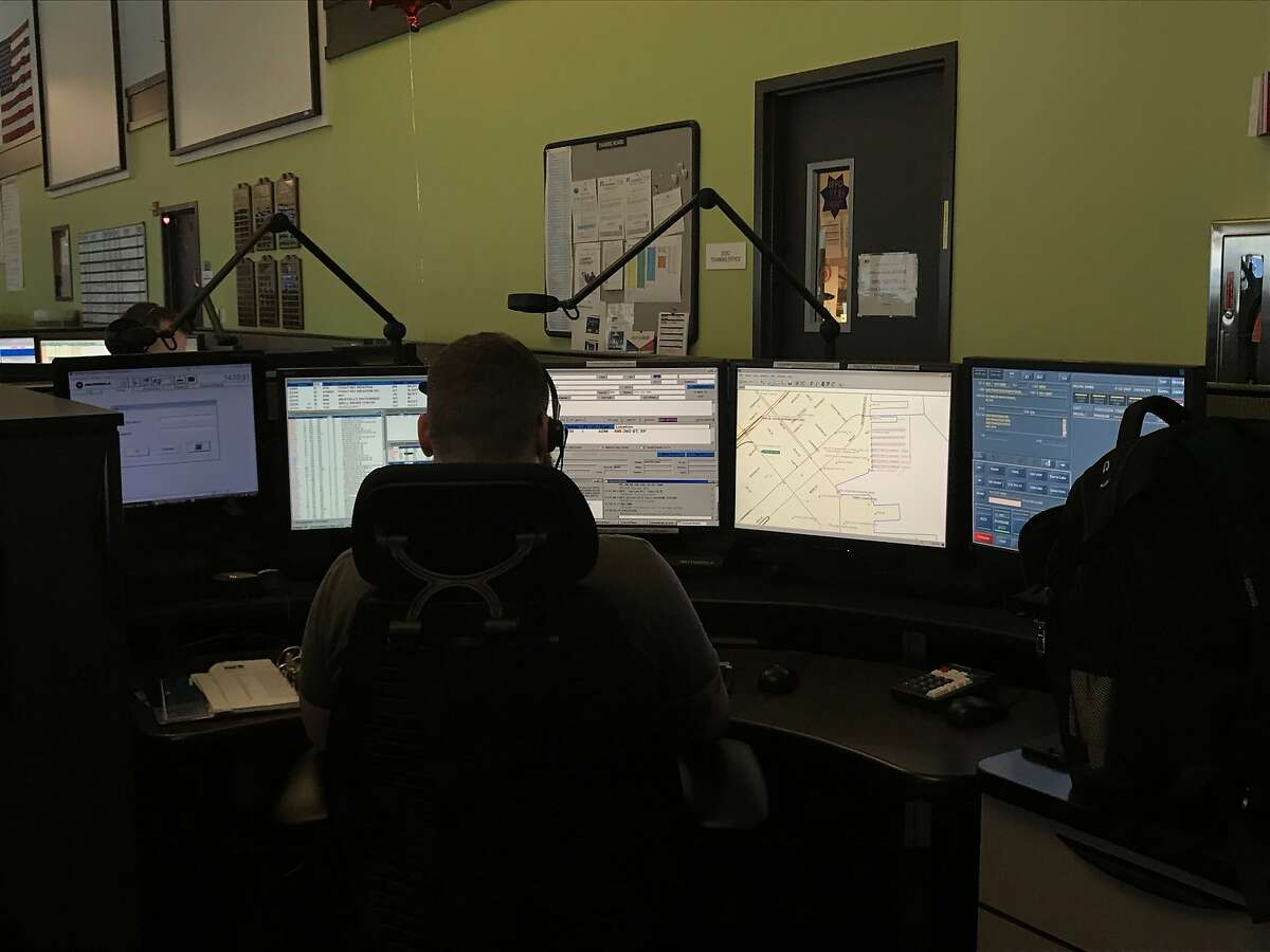 Dispatcher James Reclus answers a call for emergency services at San Francisco's Department of Emergency Services on April 22, 2019.