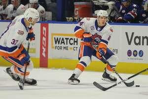 Travis St. Denis. Bridgeport Sound Tigers v. Rochester Americans AHL hockey at the Webster Bank Arena in Bridgeport, Conn. on Sunday, October 14, 2018.