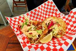 Salmon tacos at Princess Seafood Market and Deli in Fort Bragg.